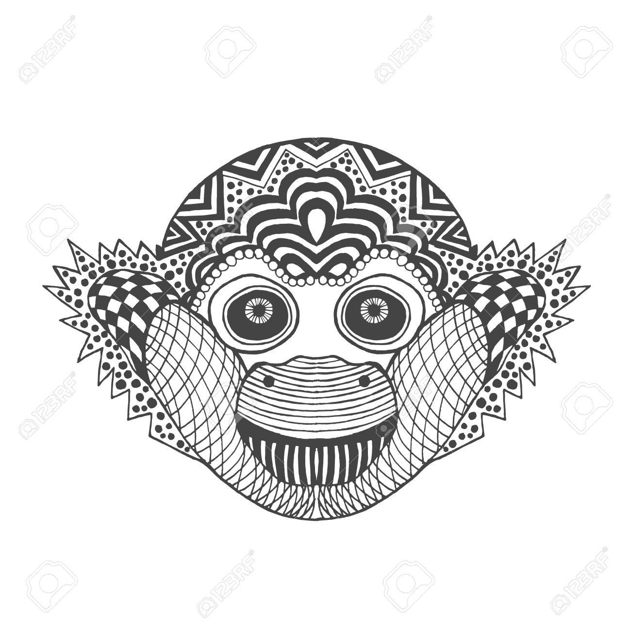Mono Lindo. Negro Mano Blanca Dibujada Animales Del Doodle ...