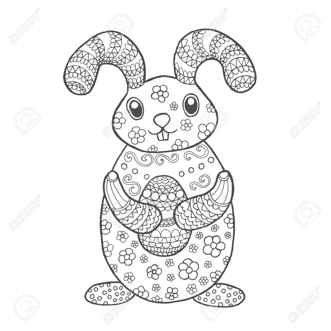 Lindo Conejo De Pascua. Animales Whitedoodle Negro. Ilustración ...