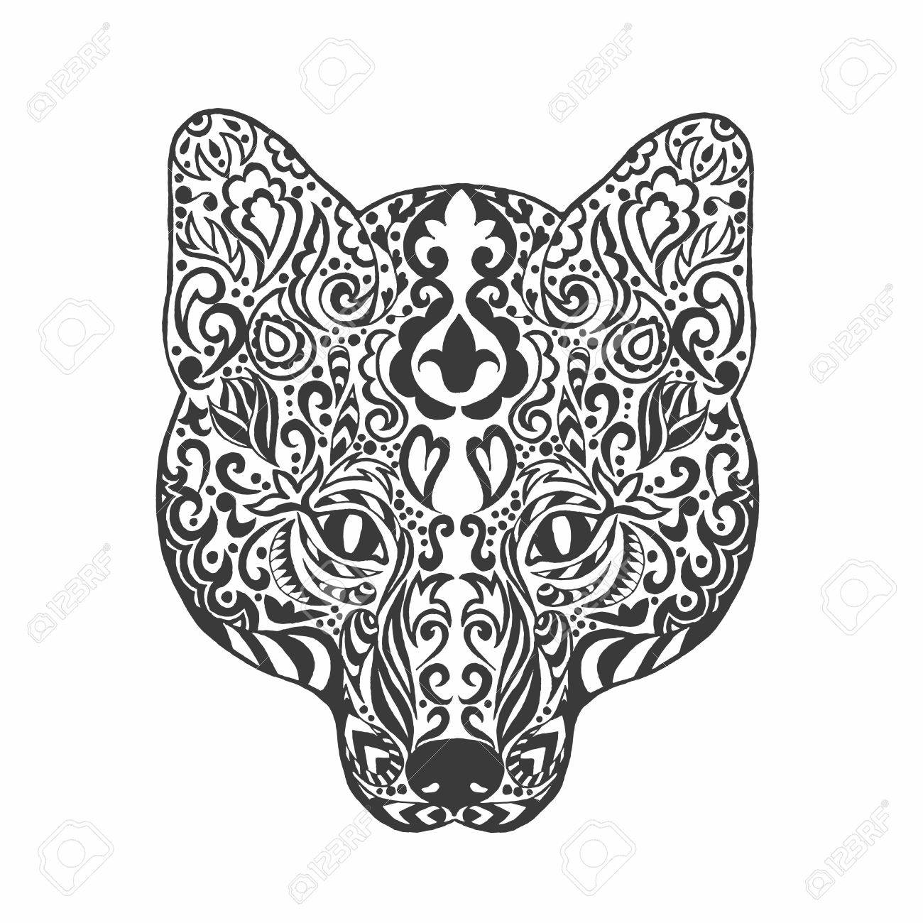 Fox Head Adult Antistress Coloring Page Black White Doodle Animal Ethnic Patterned