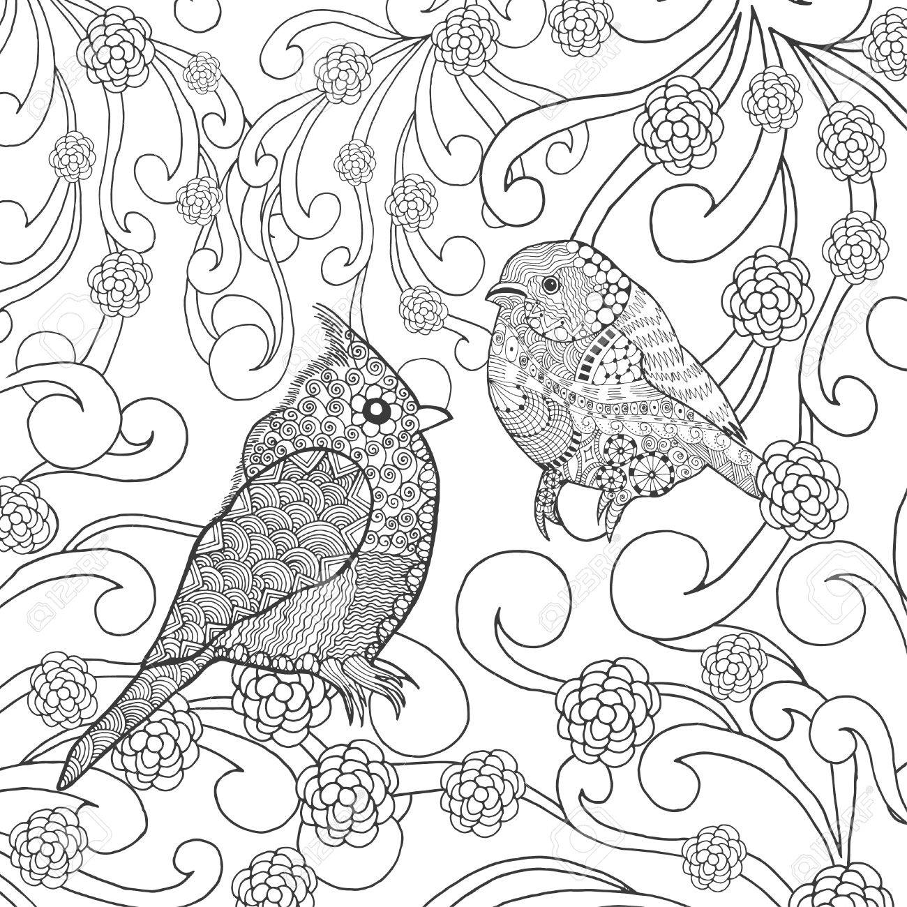 Coloriage Animaux Oiseaux.Oiseaux Coloriage Animaux Tire Par La Main Doodle Ethnique