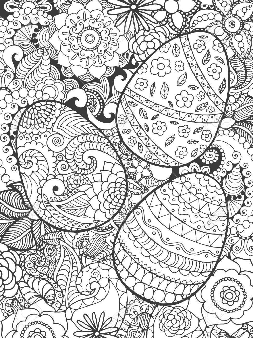 Dorable Páginas Detalladas Para Colorear Huevos De Pascua Ornamento ...