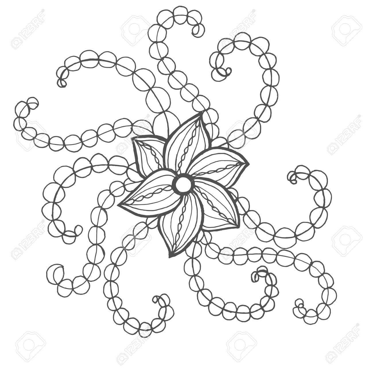 Fantasía Página De Flores Para Colorear. Dibujado A Mano Del Doodle ...