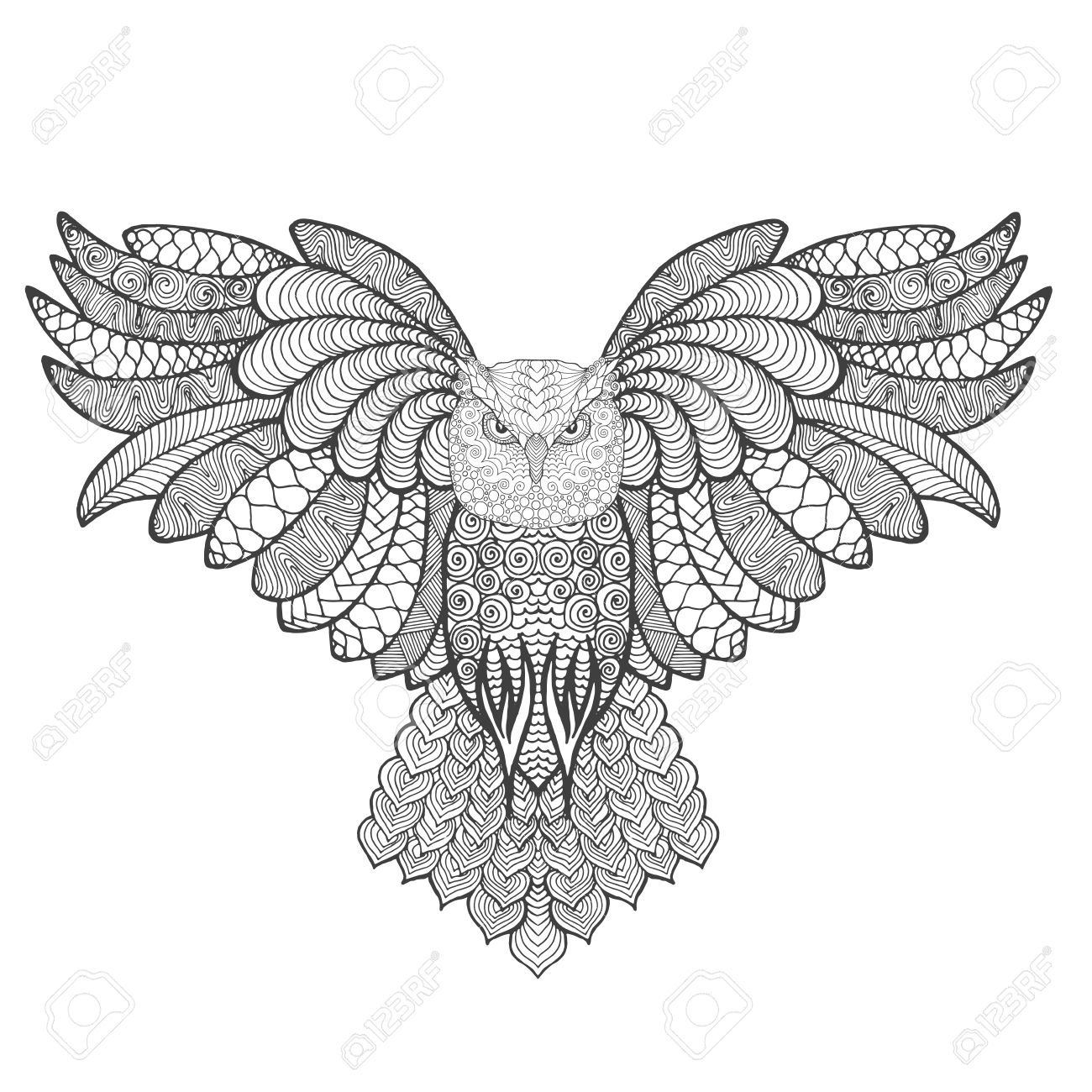 Eagle Owl Adult Antistress Coloring Page Black White Hand Drawn Doodle Animal Ethnic