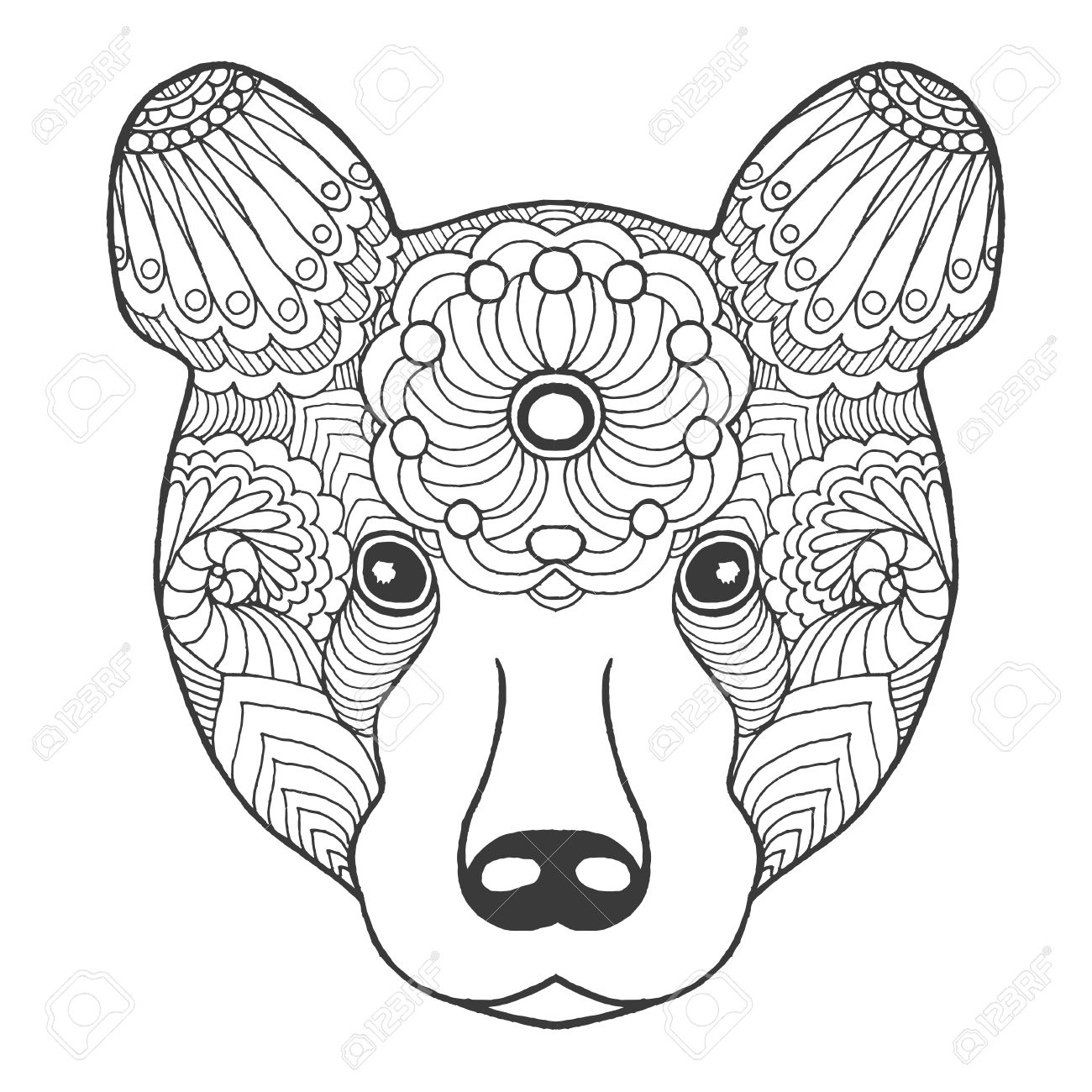 Tribal Bear Coloring Pages Native American Grizzly Bear Coloring ...