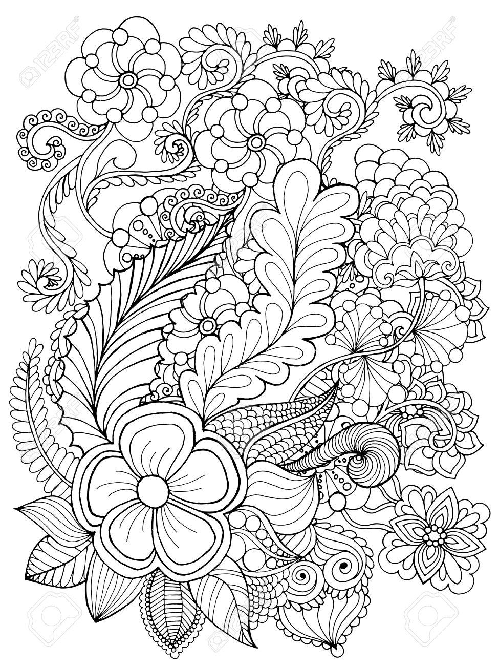 Fantástico Patrón De Flores Para Colorear Foto - Dibujos Para ...