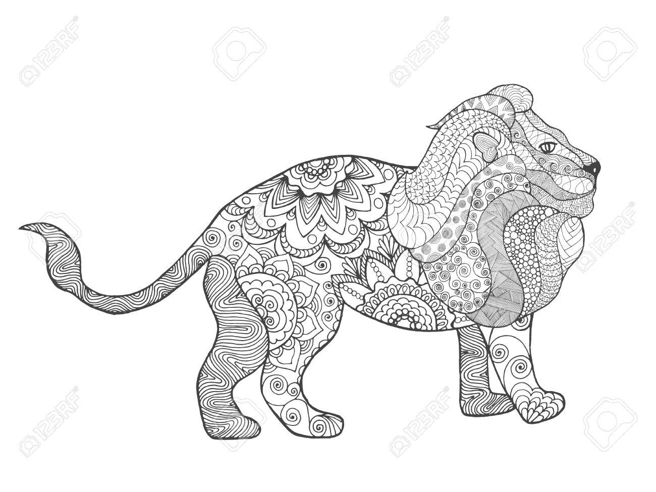 Coloring Pages Totem Animals : Lion adult antistress coloring page black white hand drawn