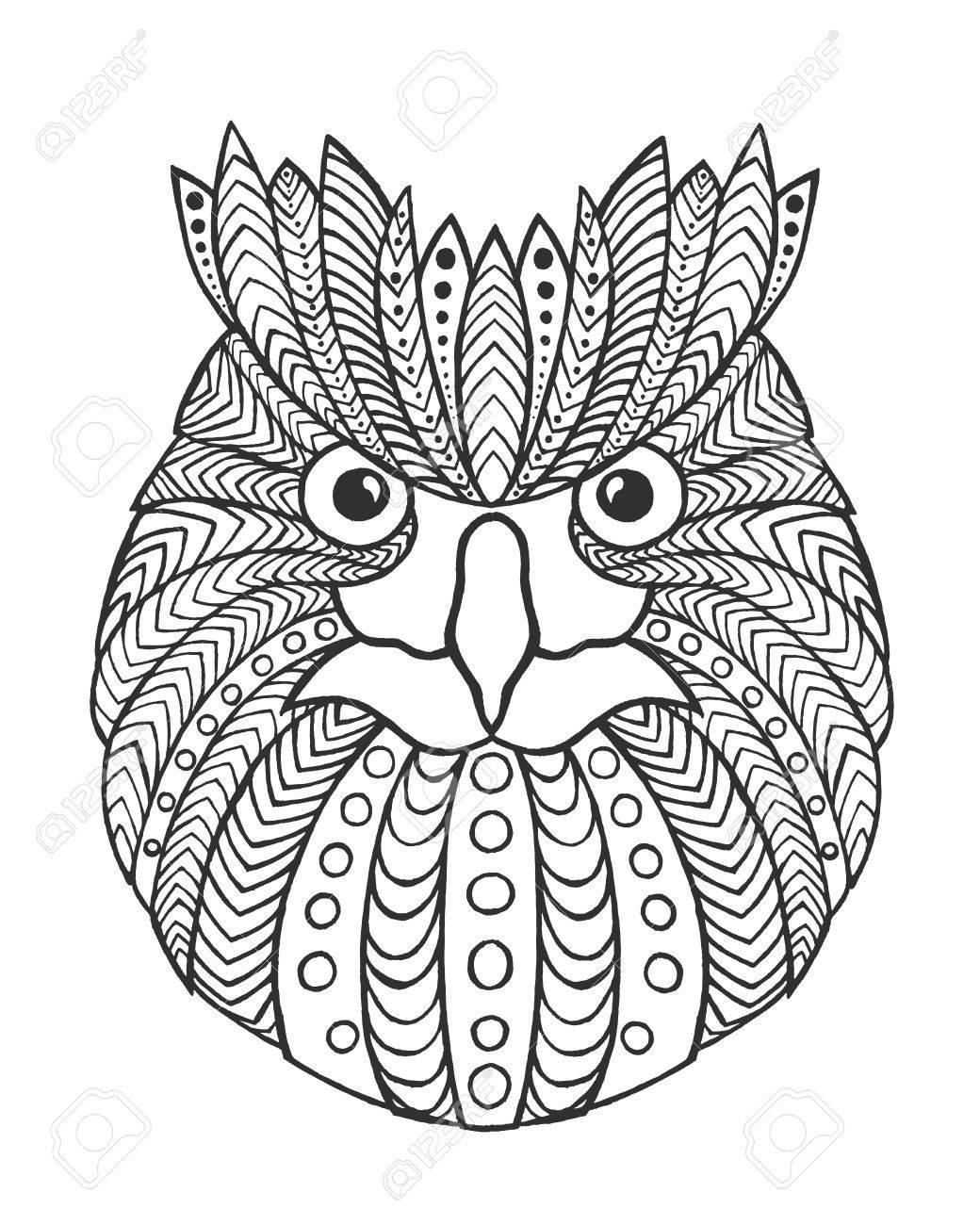 Coloriage Anti Stress Hibou.Tete De Hibou Aigle Adulte Coloriages Antistress Main Blanche Noire Dessinee Animale Doodle Ethnique Vecteur A Motifs Africaine Indien Tribal