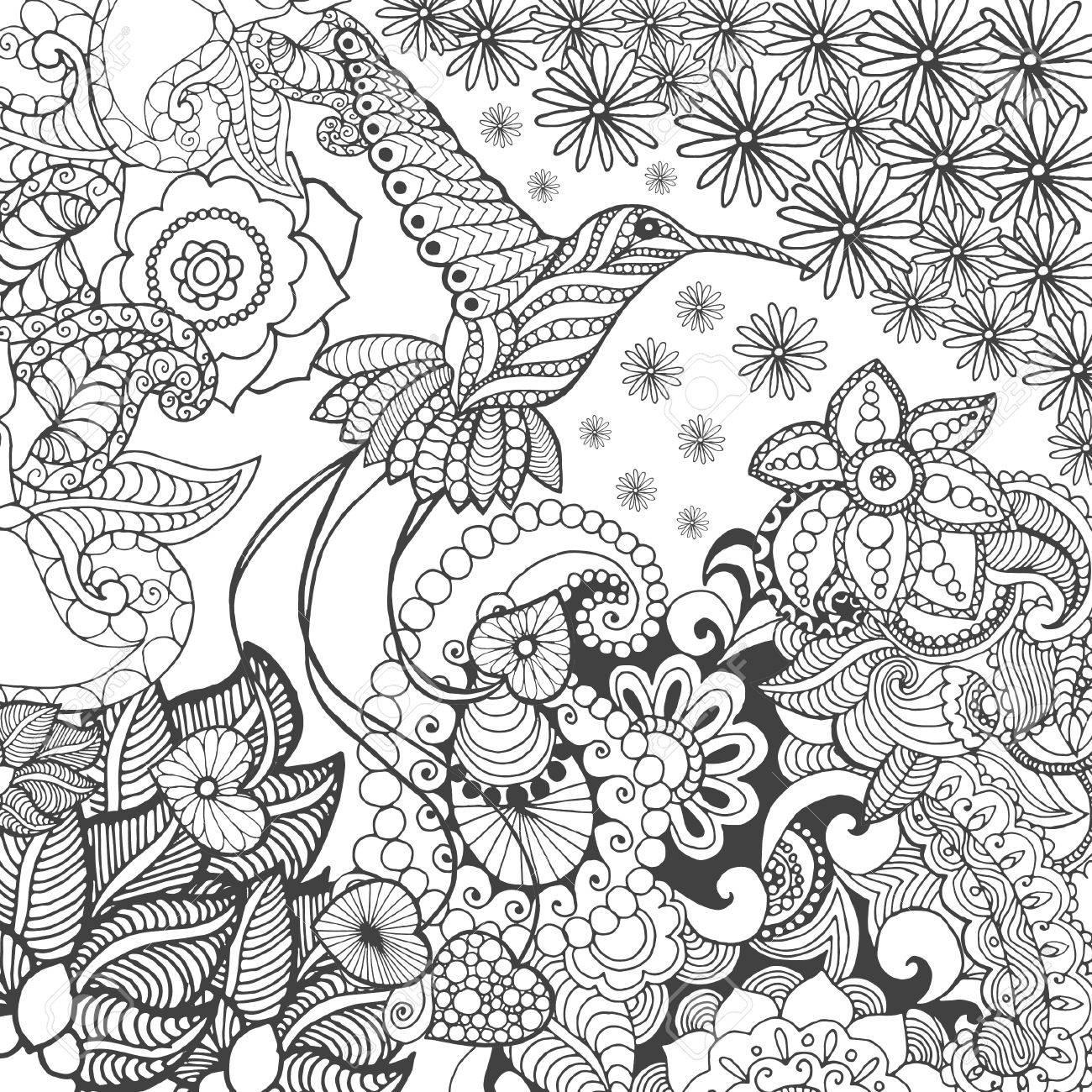 幻想の庭の鳥の楽園。動物。手描き落書き。民族模様のイラスト