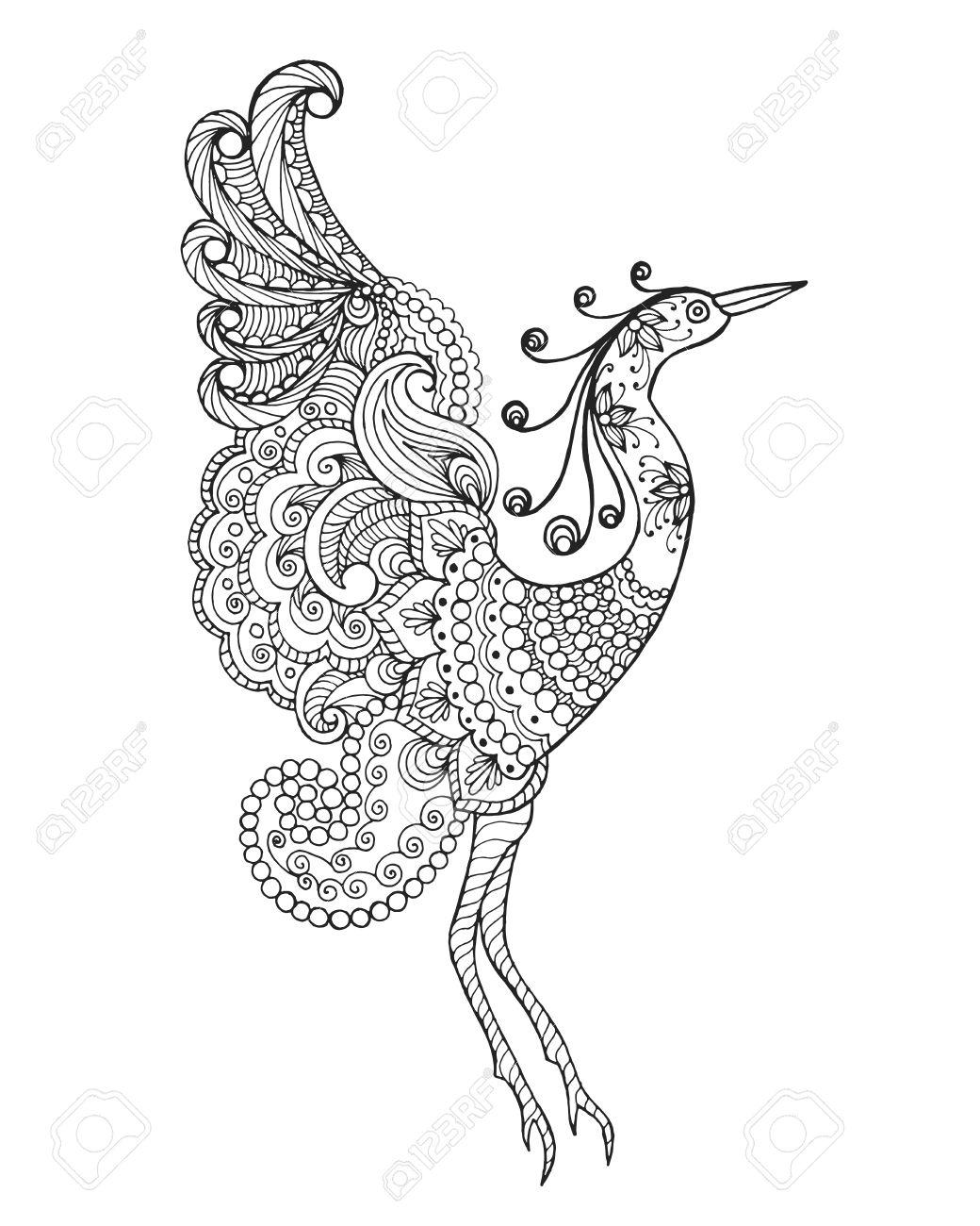 Pájaro De La Fantasía Negro Mano Blanca Dibujada Animales Del Doodle Ilustración Vectorial Estampado étnico Africano Tótem Diseño Tribal