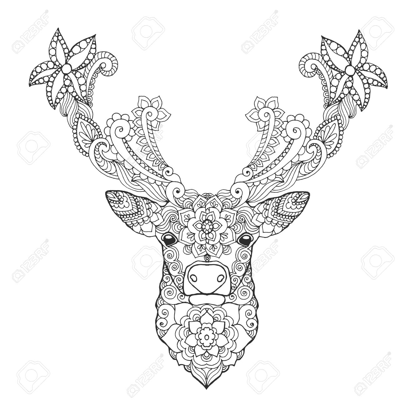 Deer Head Black White Hand Drawn Doodle Animal Ethnic Patterned Vector Illustration African