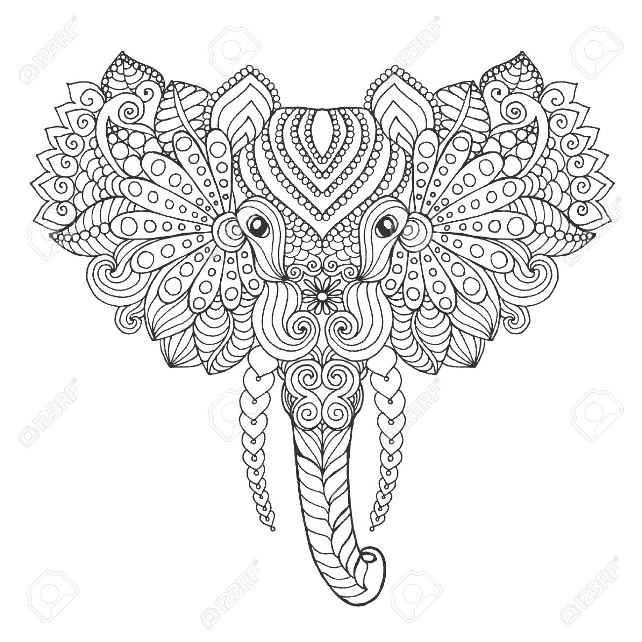 Elephant Head. Adult Antistress Coloring Page. Black White Hand ...
