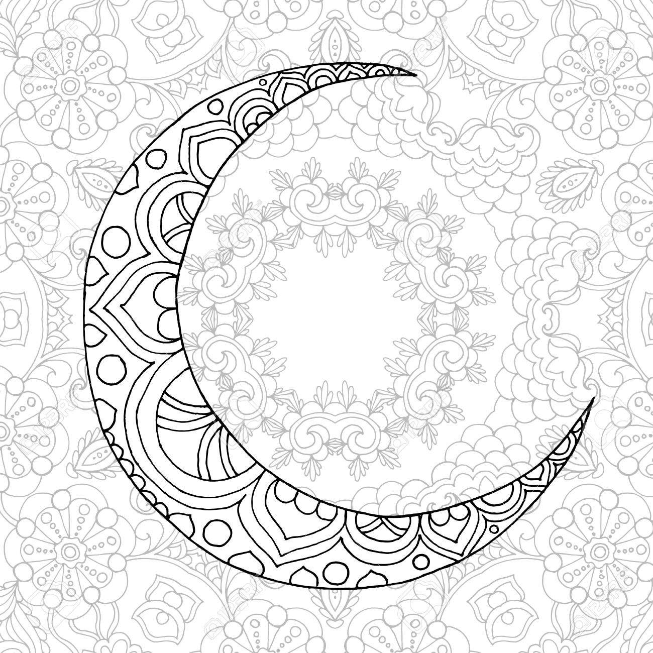 Ramadan Kareem Half Moon Greeting Design Coloring Page Engraved Royalty Free Cliparts Vectors And Stock Illustration Image 60125249
