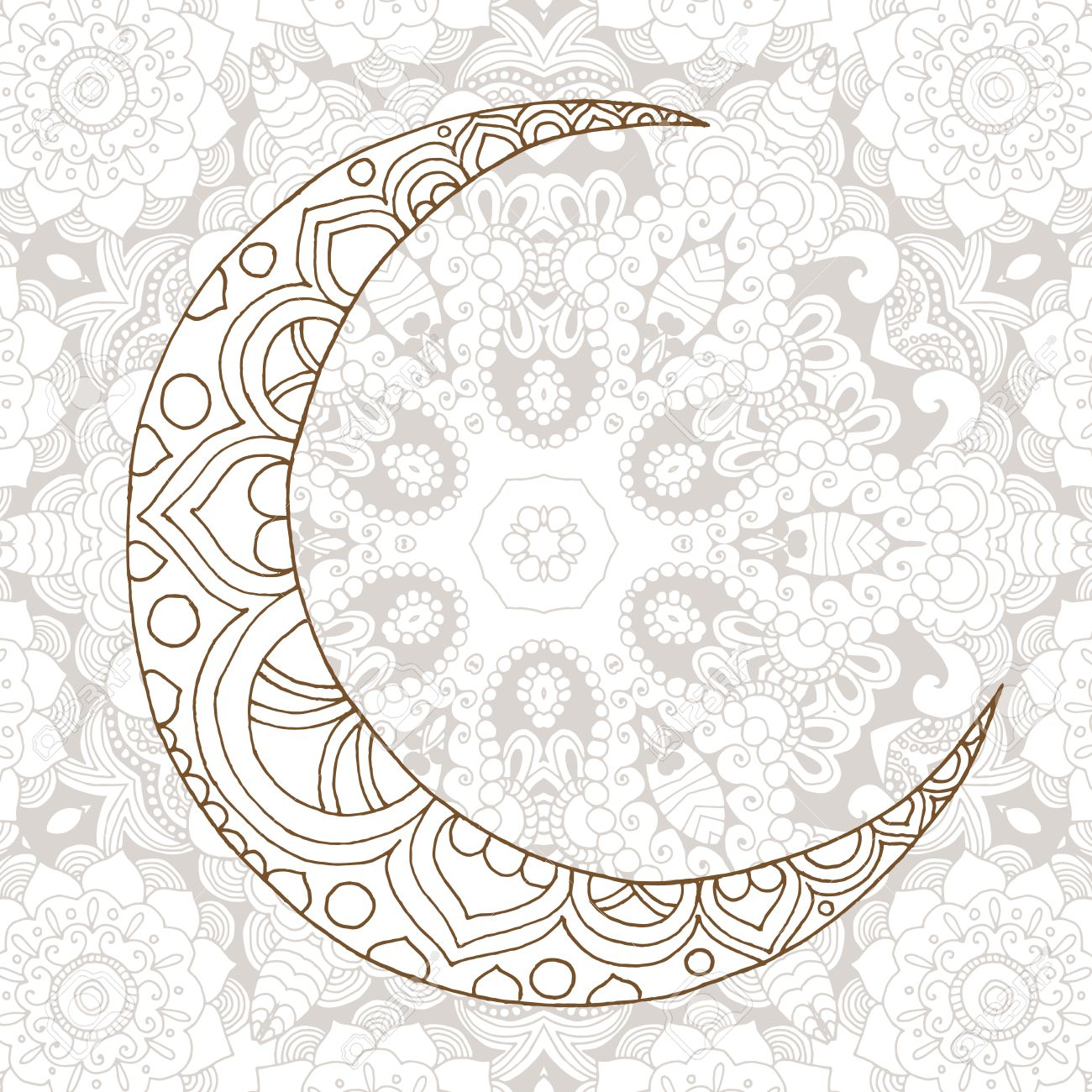 Coloring pages ramadan - Ramadan Kareem Half Moon Design Background Greeting Design Coloring Page Engraved Vector Illustration