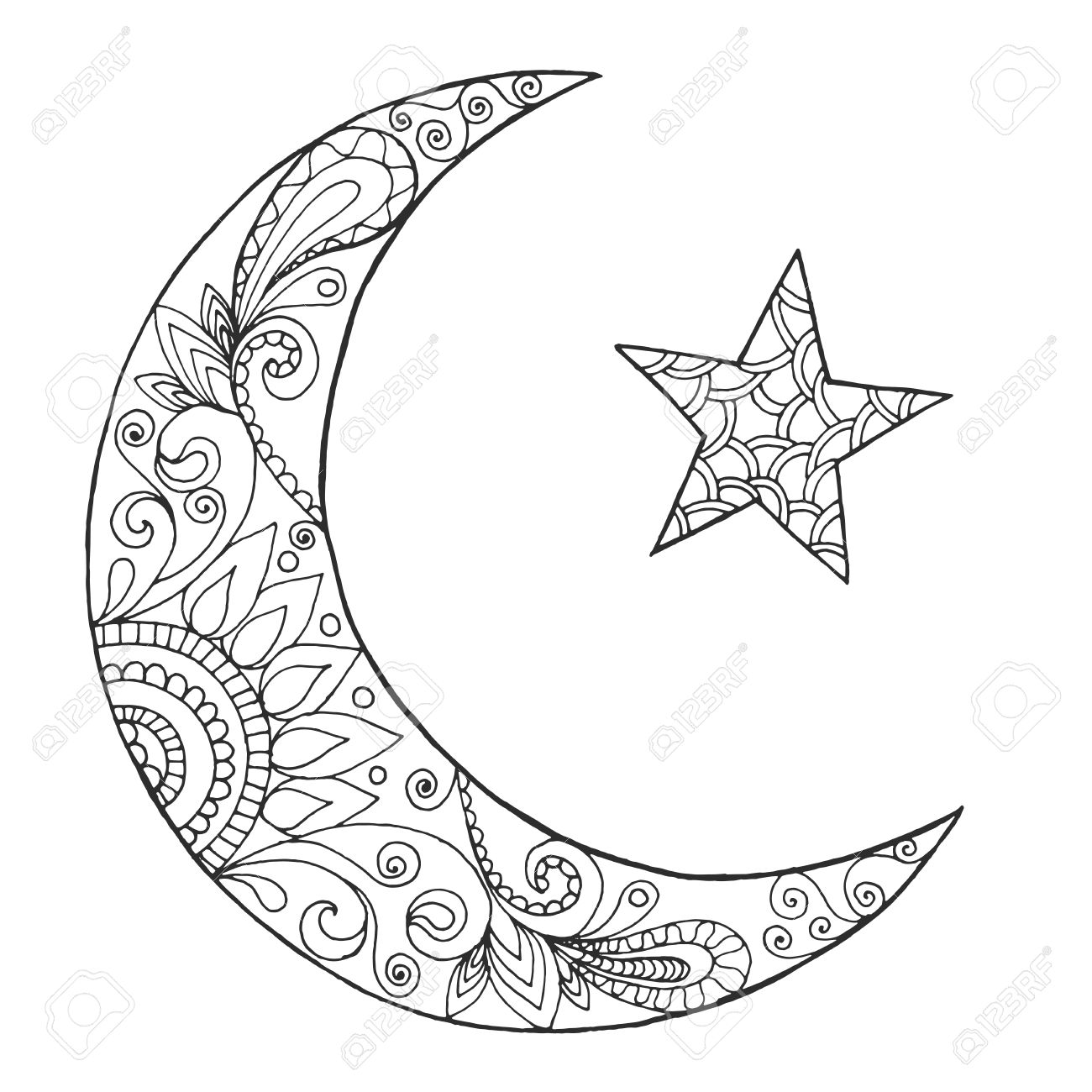 ramadan kareem half moon greeting design coloring page engraved