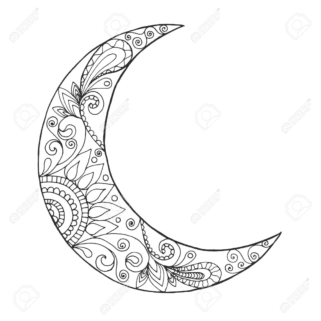 Ramadan Kareem Half Moon. Greeting Design Coloring Page. Engraved ...