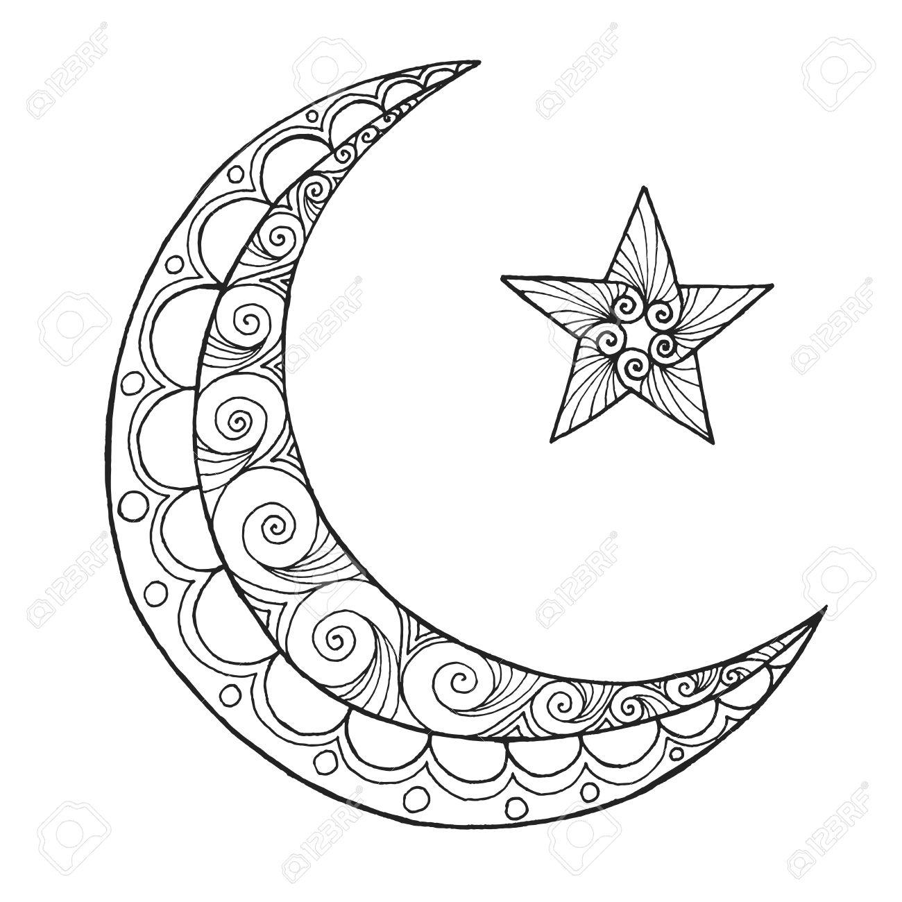 ramadan kareem half moon greeting design coloring page engraved