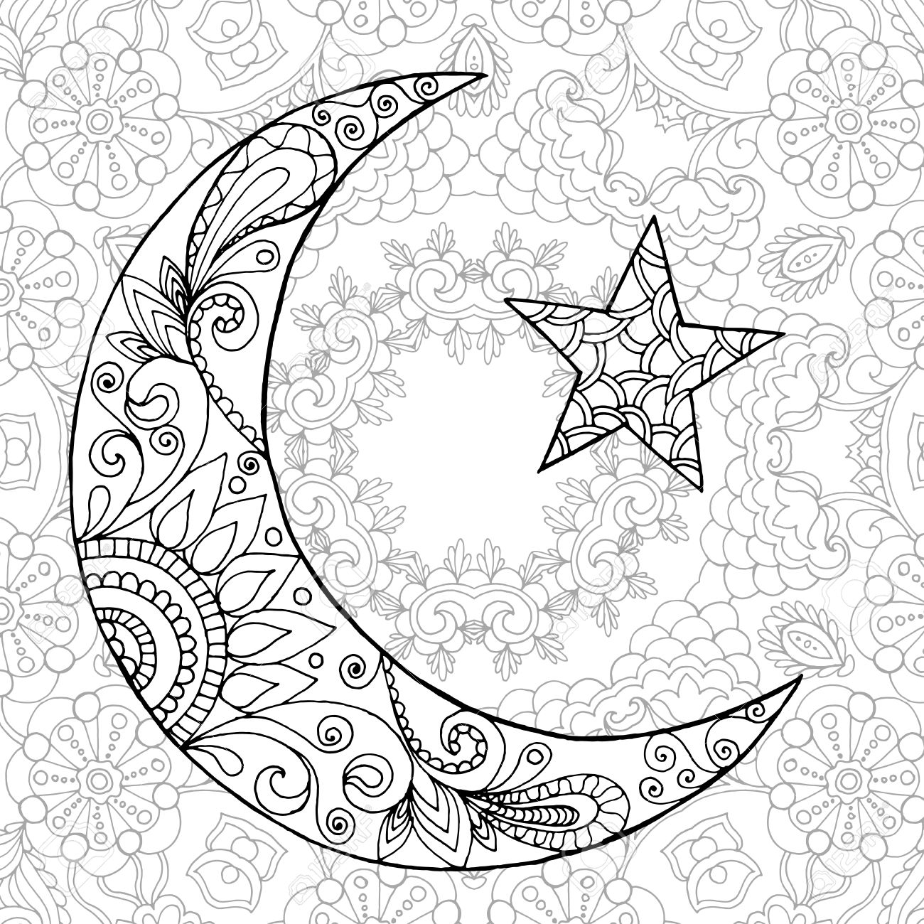 Ramadan Kareem Demi Lune Salutation Conception Coloriages Grave