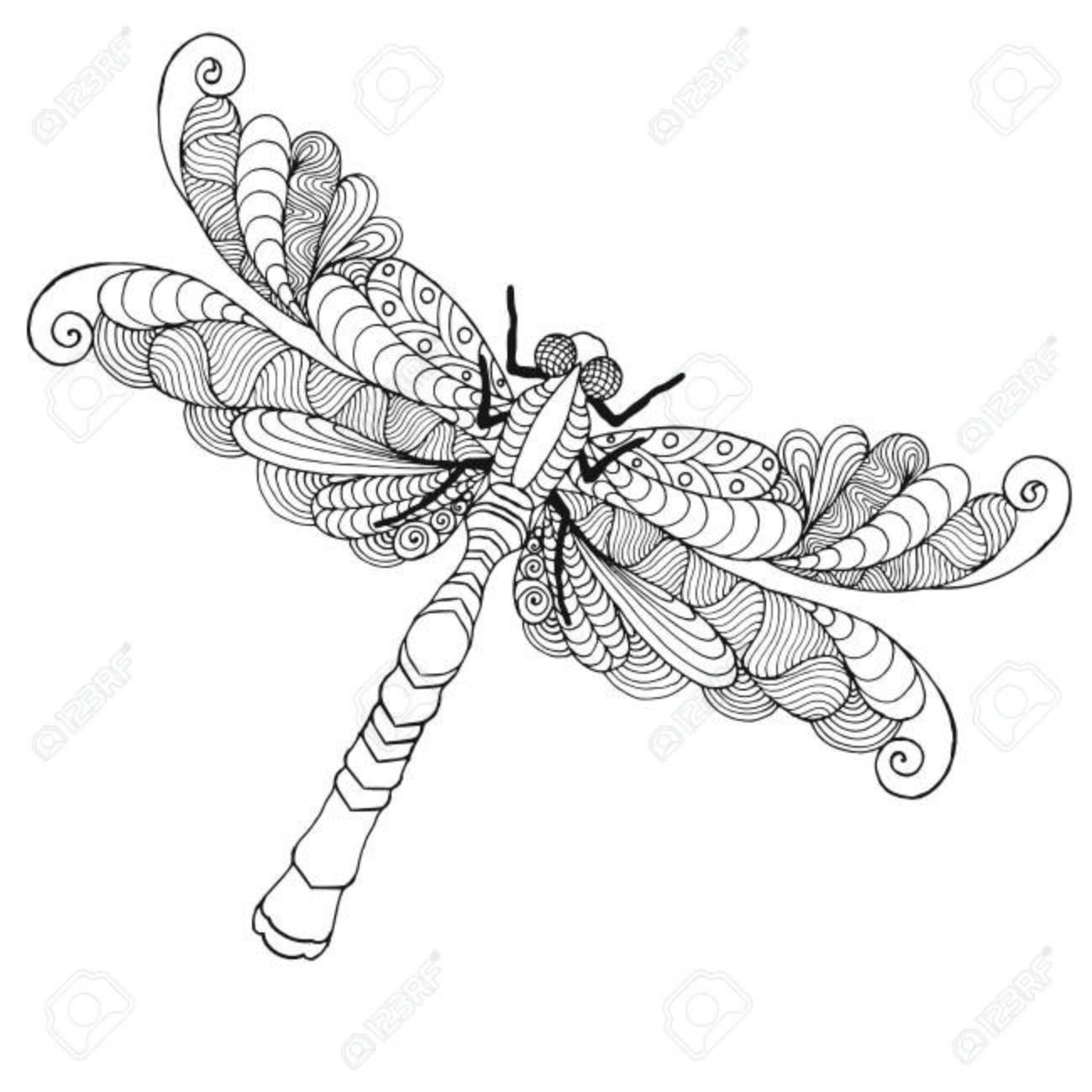 Libélula Estilizada Zentangle. Ilustración Vectorial Estampado ...