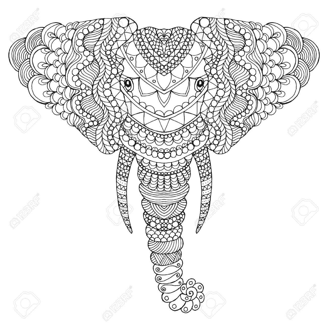 Coloriage Elephant Pour Adulte.Tete D Elephant Adulte Coloriages Antistress Main Blanche Noire