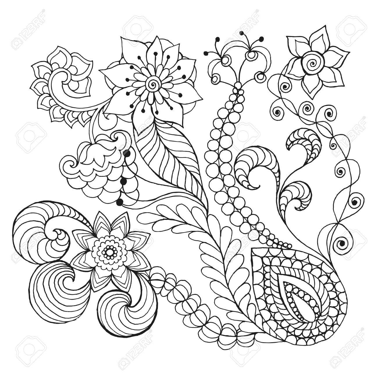 Fantasy Flowers Coloring Page. Hand Drawn Doodle. Floral Patterned ...