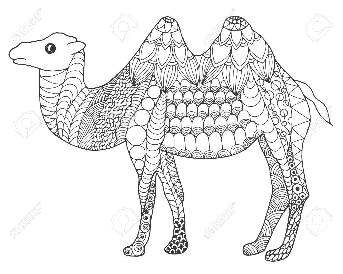 Camello. Negro Mano Blanca Dibujada Animales Del Doodle. Ilustración ...