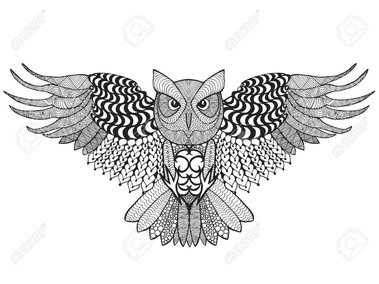 Eagle Owl Adult Anti Stress Coloring Page Stock Vector