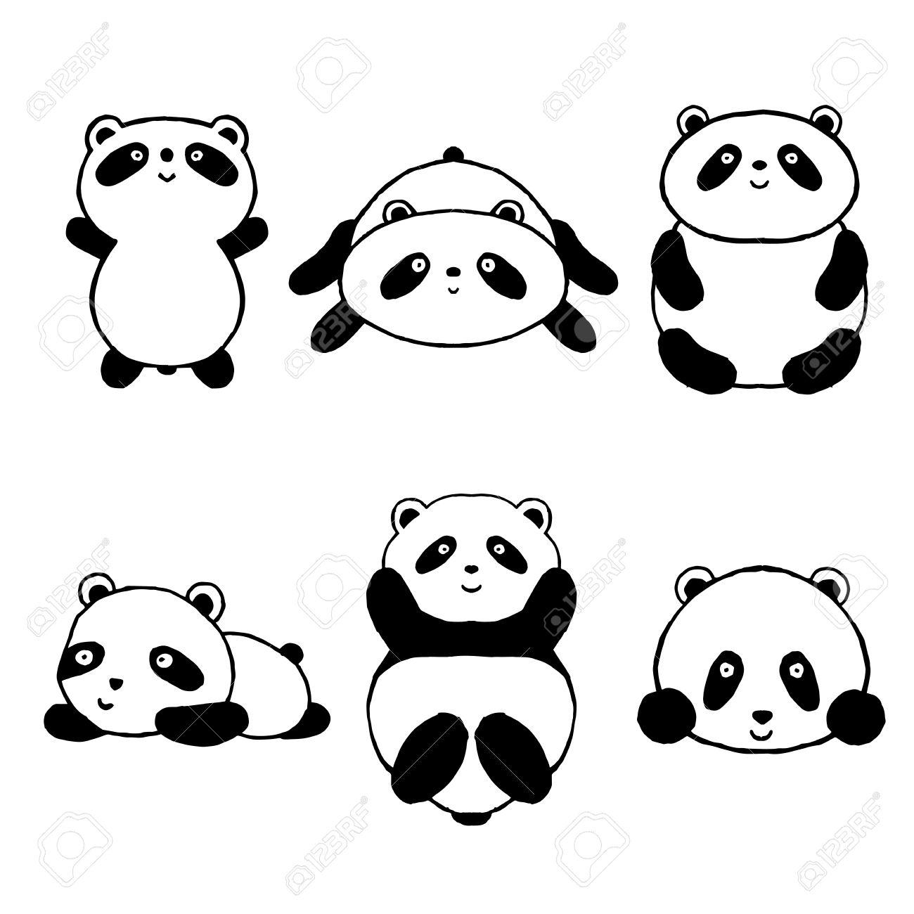 cute cartoon panda set icons black white hand drawn doodle animal