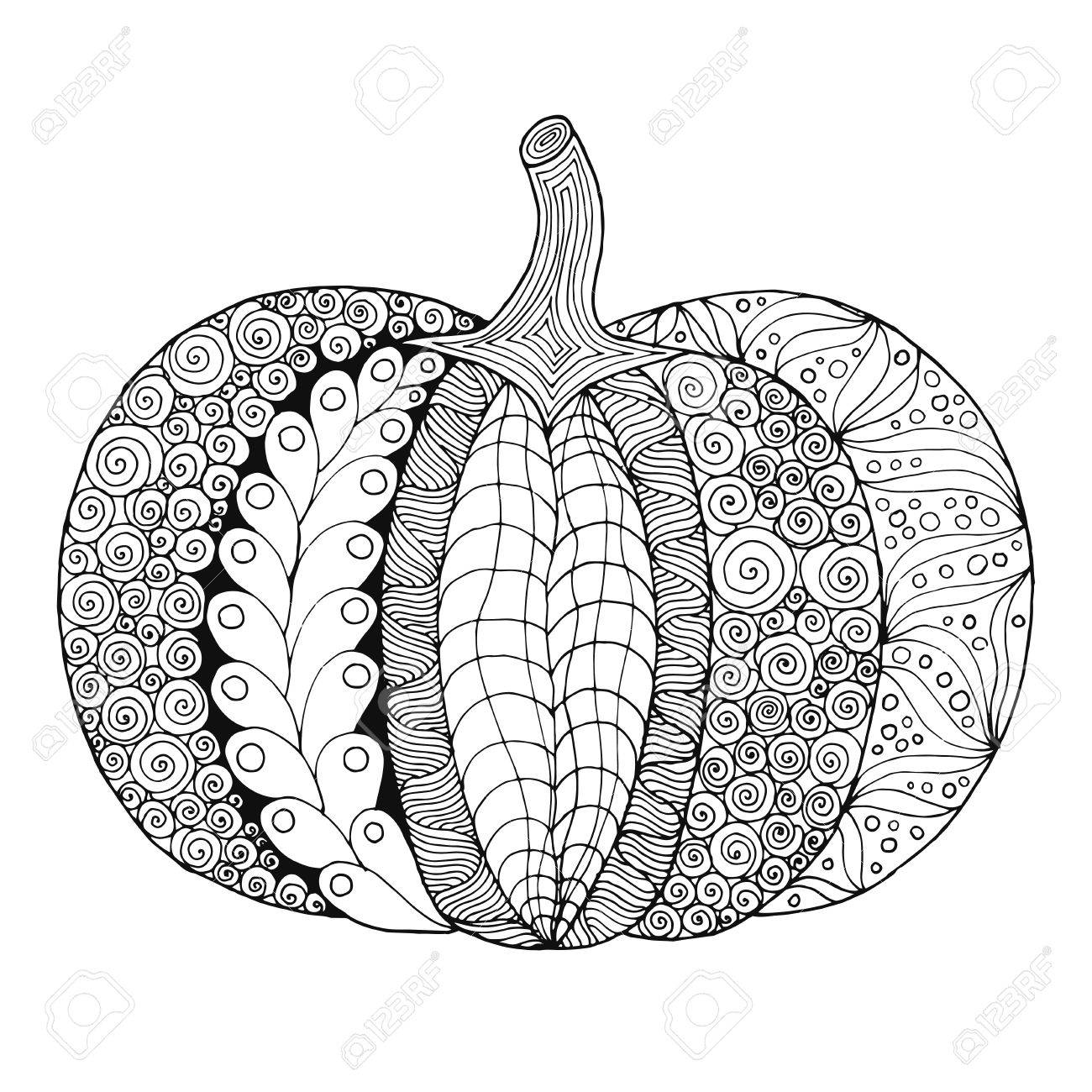 Zentangle Stylized Pumpkin Black White Hand Drawn Vector Illustration Royalty Free Cliparts Vectors And Stock Illustration Image 64961560