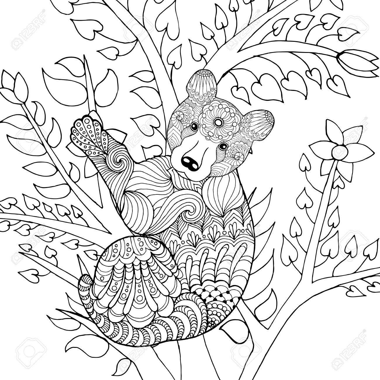 Oso Lindo Bebé En El árbol. Negro Mano Blanca Dibujada Animales Del ...