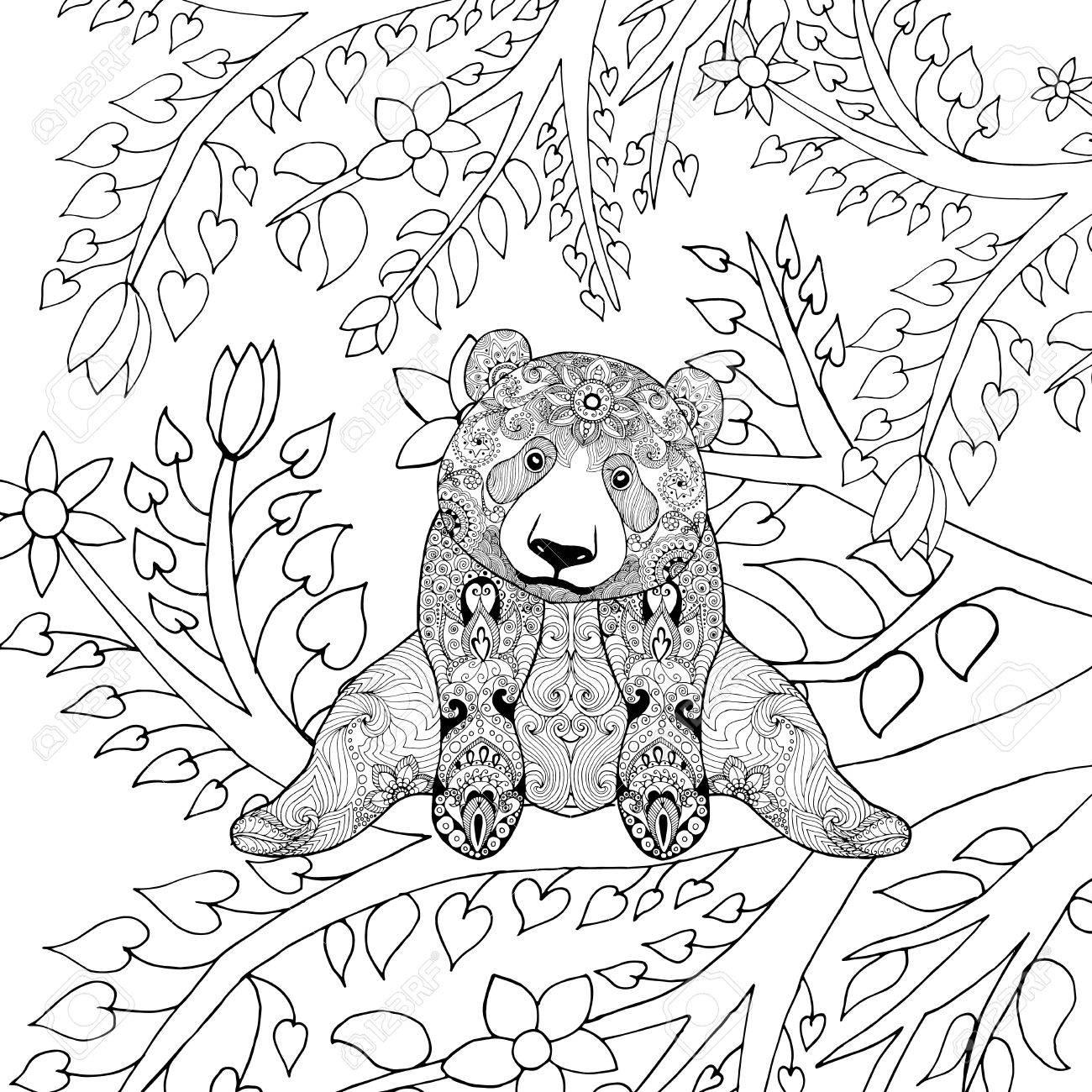 El Oso De Panda Lindo En Ramas De Los árboles. Negro Mano Blanca ...