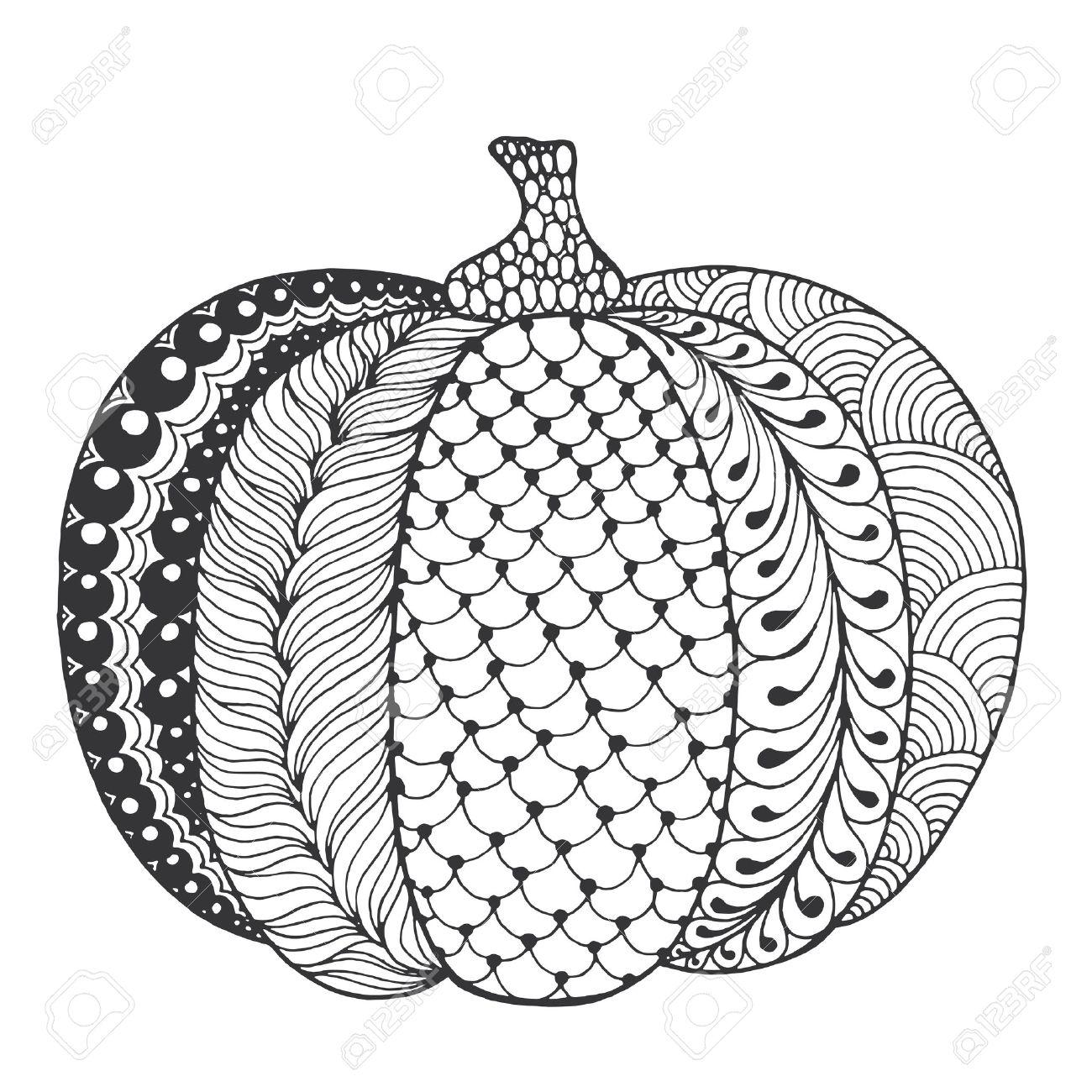 Zentangle Stilisierte Kürbis. Schwarz-weiße Vektor-Illustration Hand ...