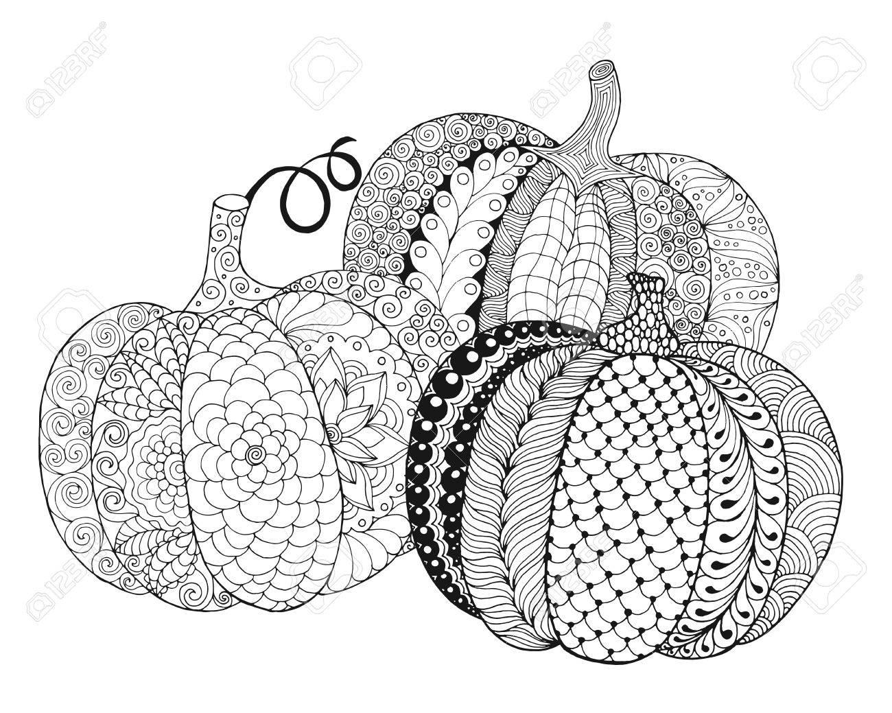 Calabazas Estilizadas Zentangle. Negro Blanco Dibujado A Mano ...