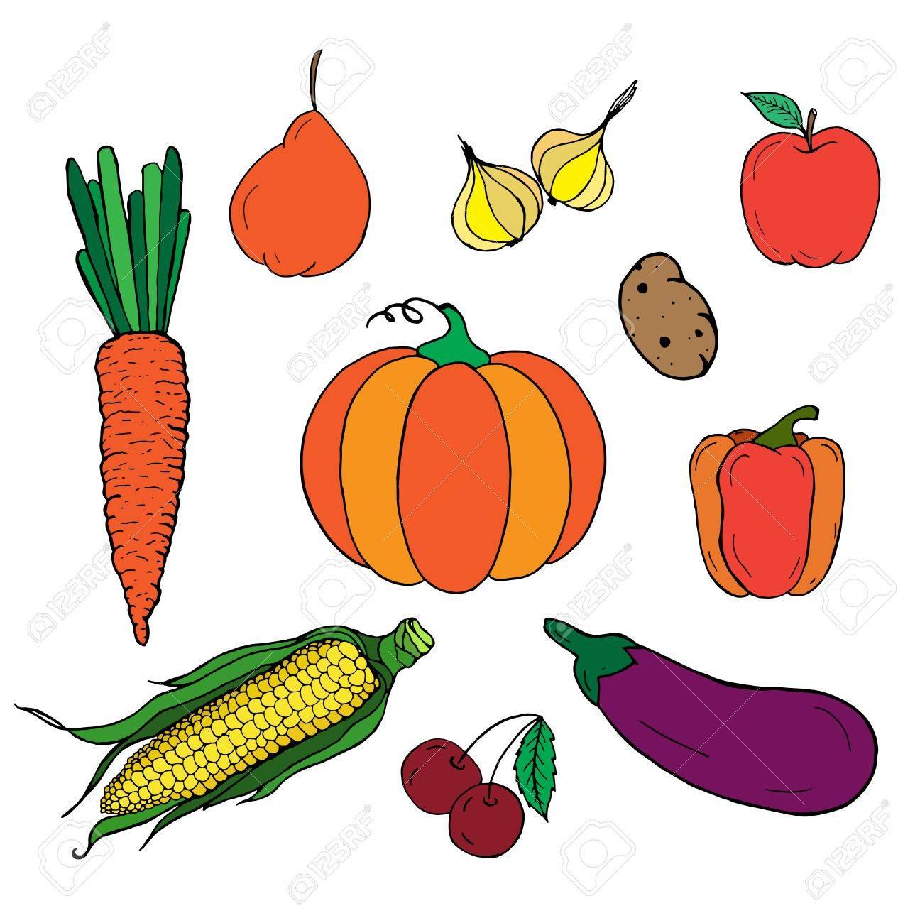 Set Gemüse. Herbsternte. Freehand Schwarz Weiß Vektor-Illustration ...