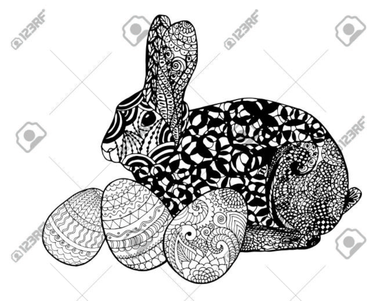 easter bunny rabbit coloring page stock vector 71620049 - Rabbit Coloring Page