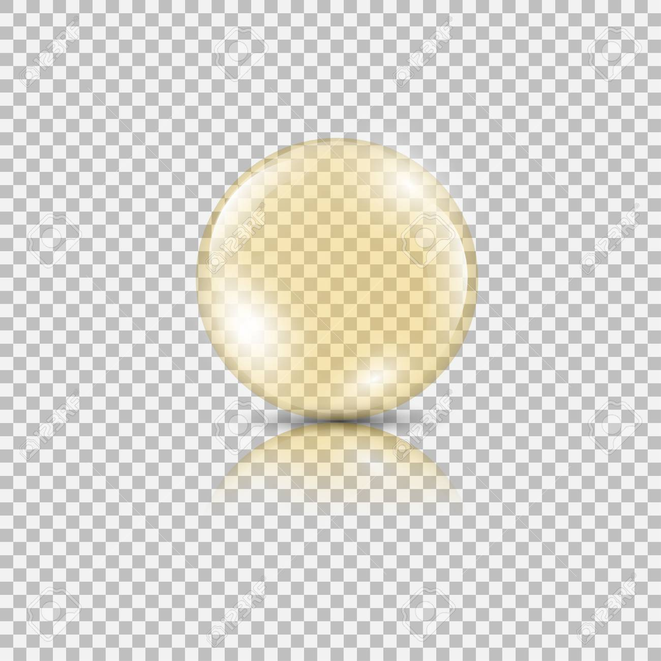 Bright gold drop of oil essence. Vector illustration isolated on transparent background. Shining droplet of serum, honey, collagen - 126915568
