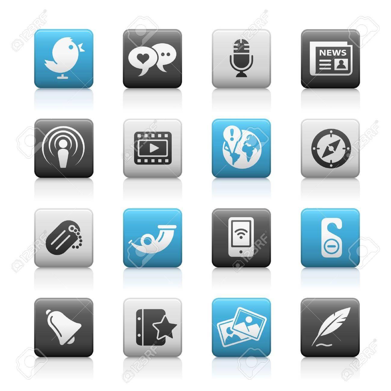 Blog & New Media // Matte Icons Series Stock Vector - 6625084