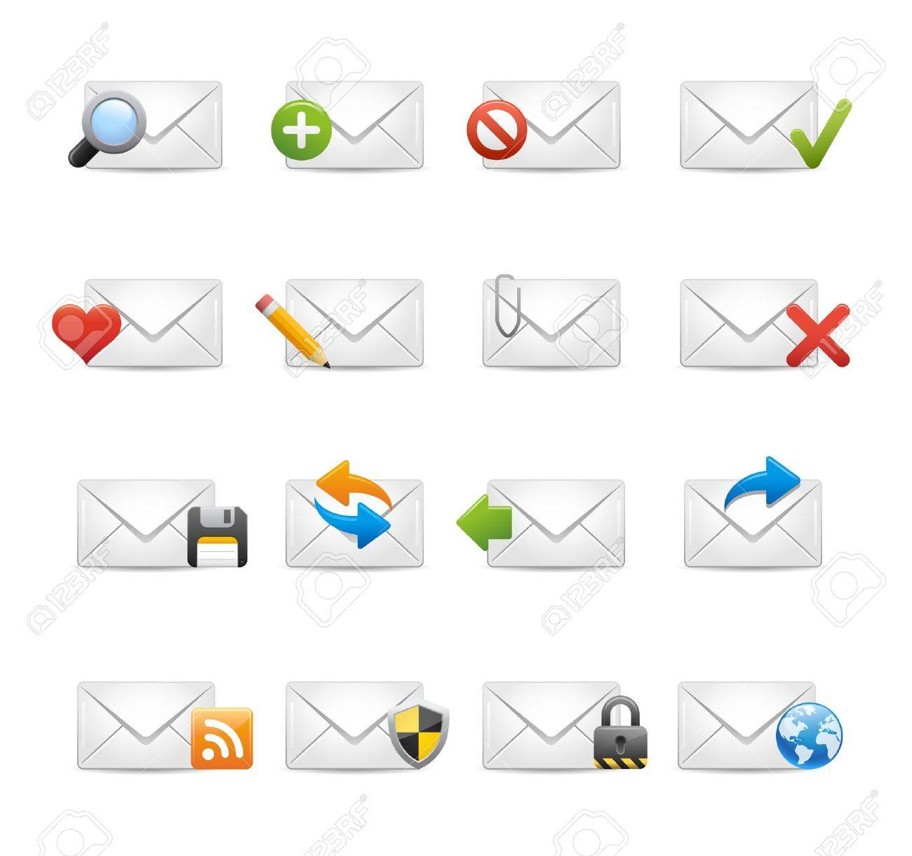 e-mail Icons - Set 1 of 3 -- Soft Series Stock Vector - 13199860