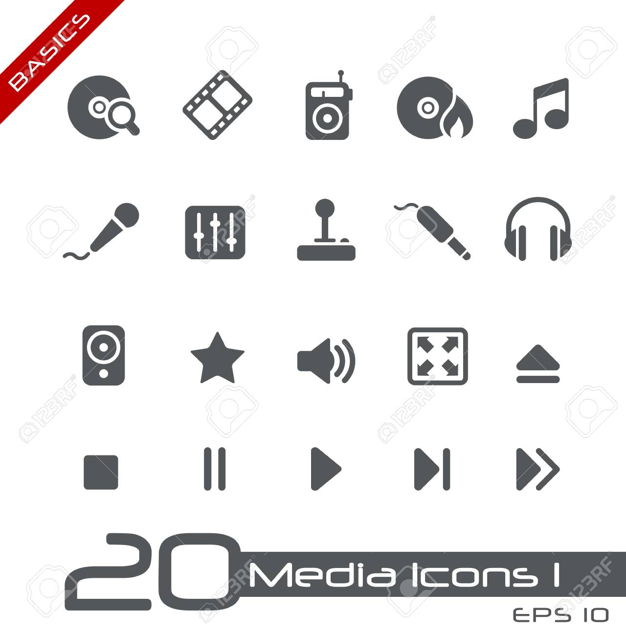 Media Icons -- Basics Series Stock Vector - 15137628