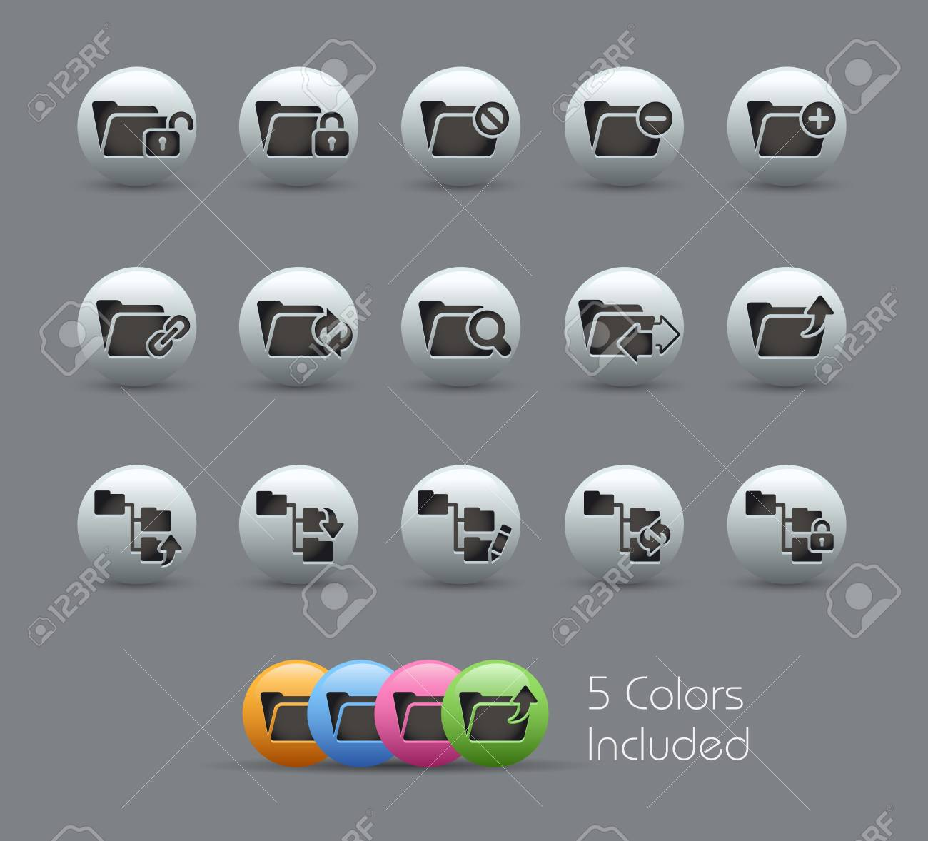 Folder Icons - 1 of 2 --  file includes 5 colors Stock Vector - 15561758