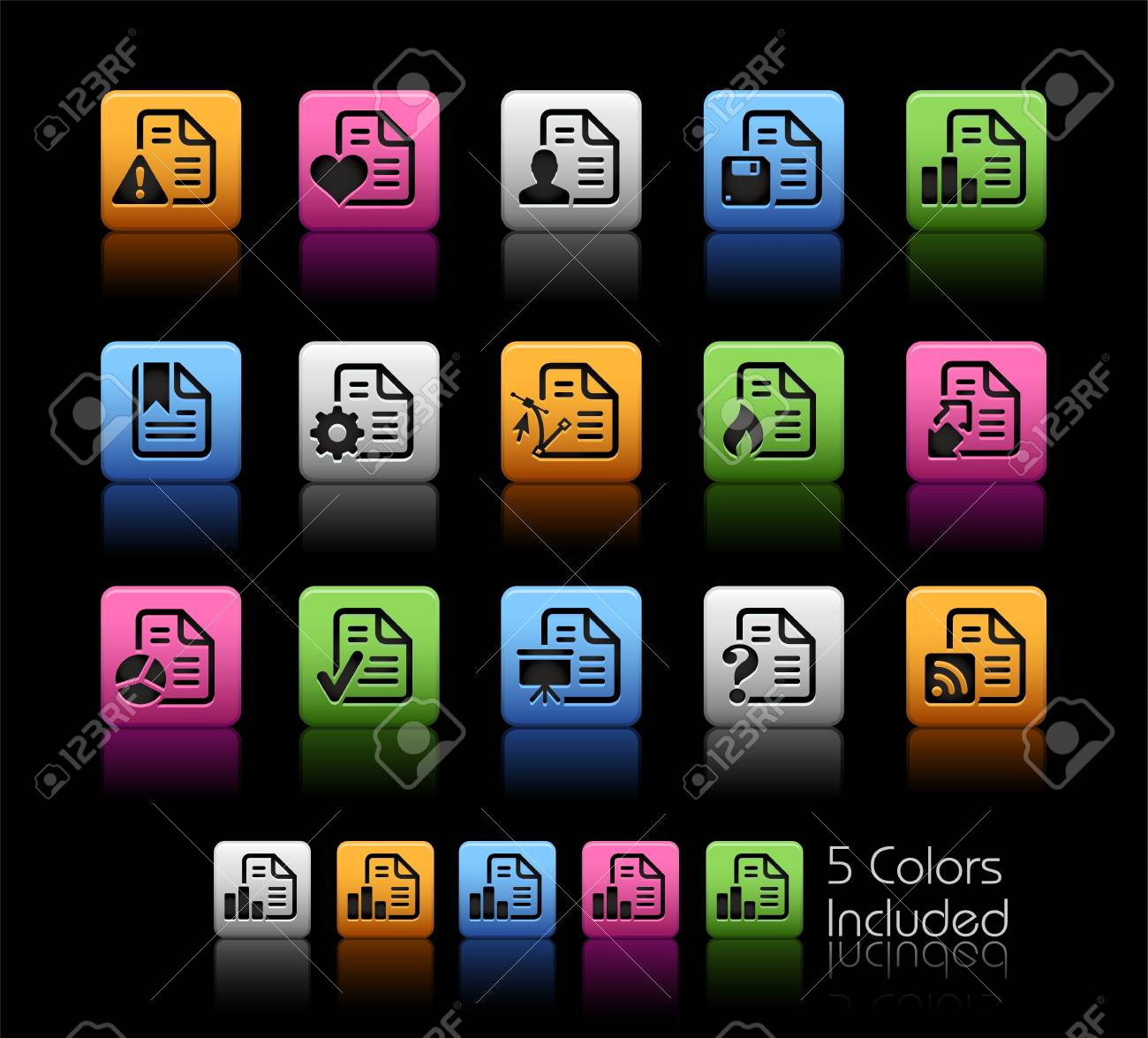 Documents Icons 2 - Color Box_It includes 5 color versions for each icon in different layers Stock Vector - 16189317