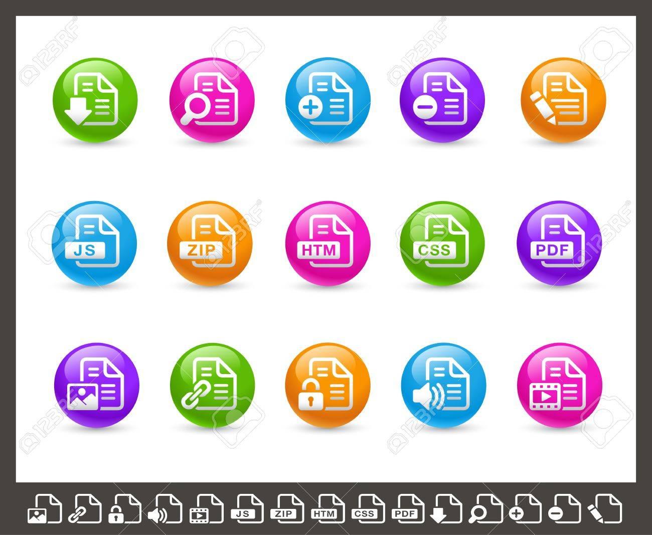 Documents Icons - 1 of 2 -- Rainbow Series Stock Vector - 17143128