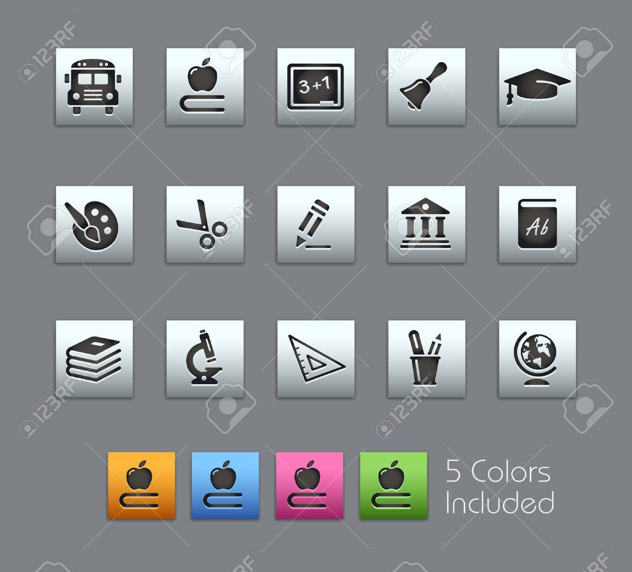 School and Education Icons -- Vector file includes 5 color versions for each icon in different layers Stock Vector - 18462697