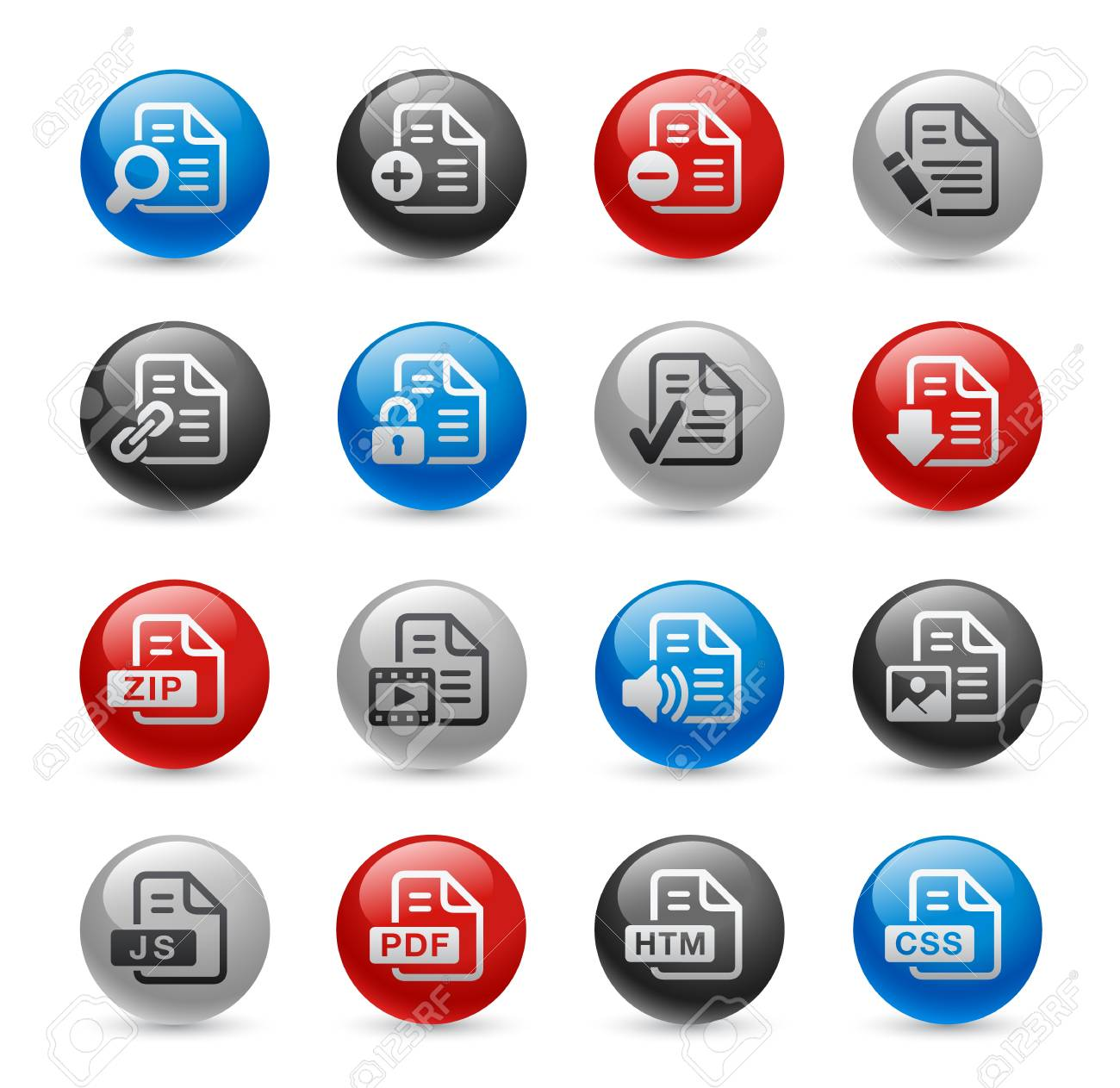 Documents Icons - Set 1 -- Gel Pro Series Stock Vector - 20749252