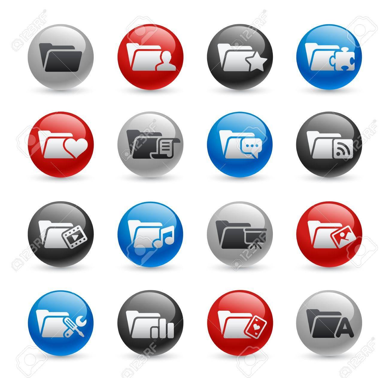 Folder Icons - Set 2 -- Gel Pro Series Stock Vector - 20749256