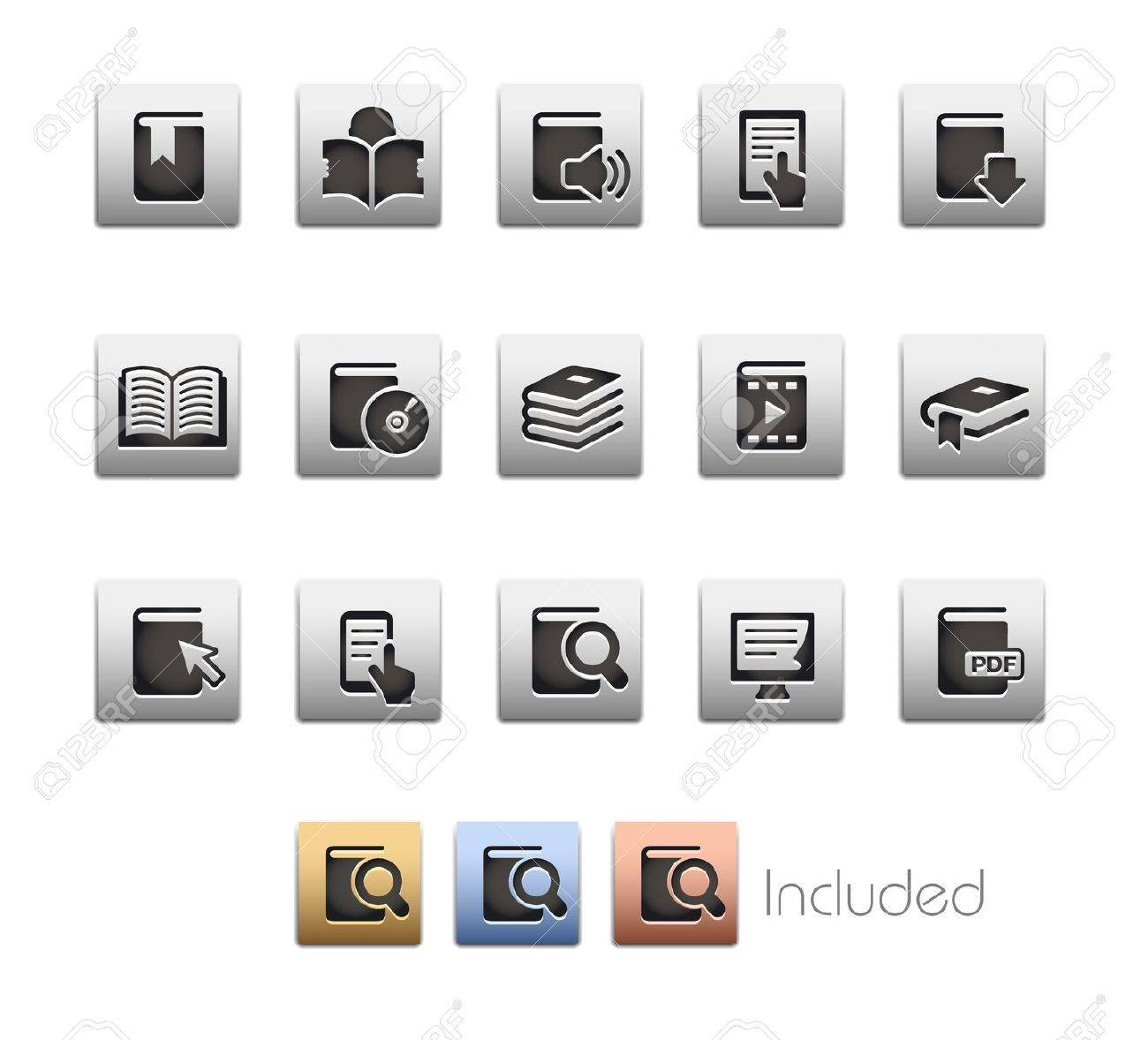 Book Icons - The set includes 4 color versions for each icon in different layers Stock Vector - 21686273