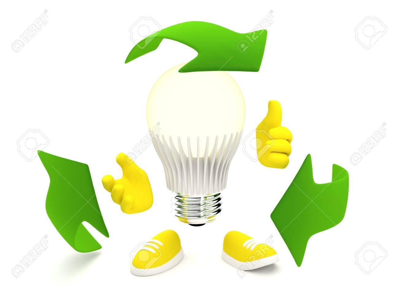LED-Lampe Leuchtet Gelb Mit Recycling Grüne Pfeile Lizenzfreie Fotos ...