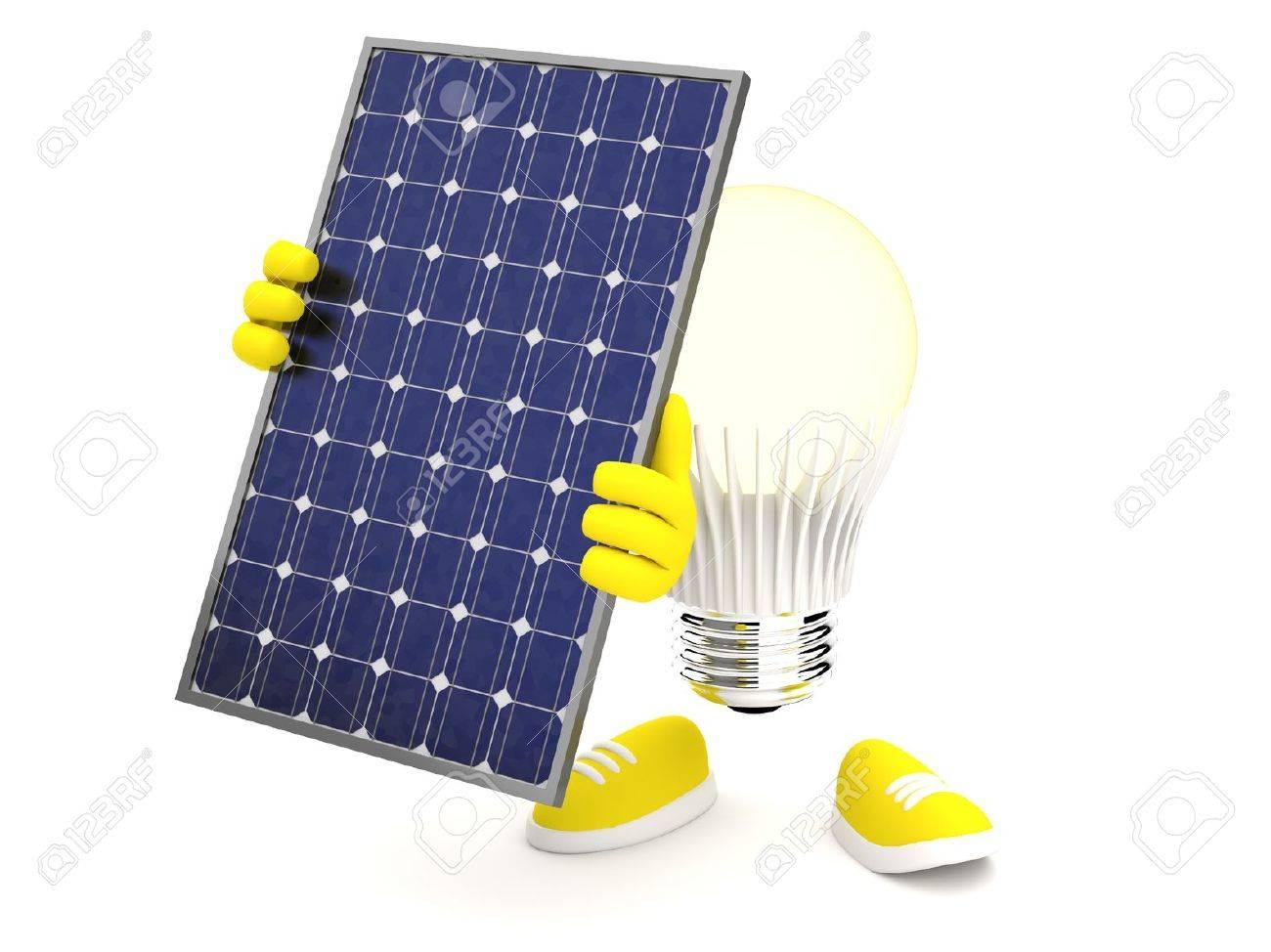 Lampe Led Jaune Se Allume Avec Panneau Photovoltaique