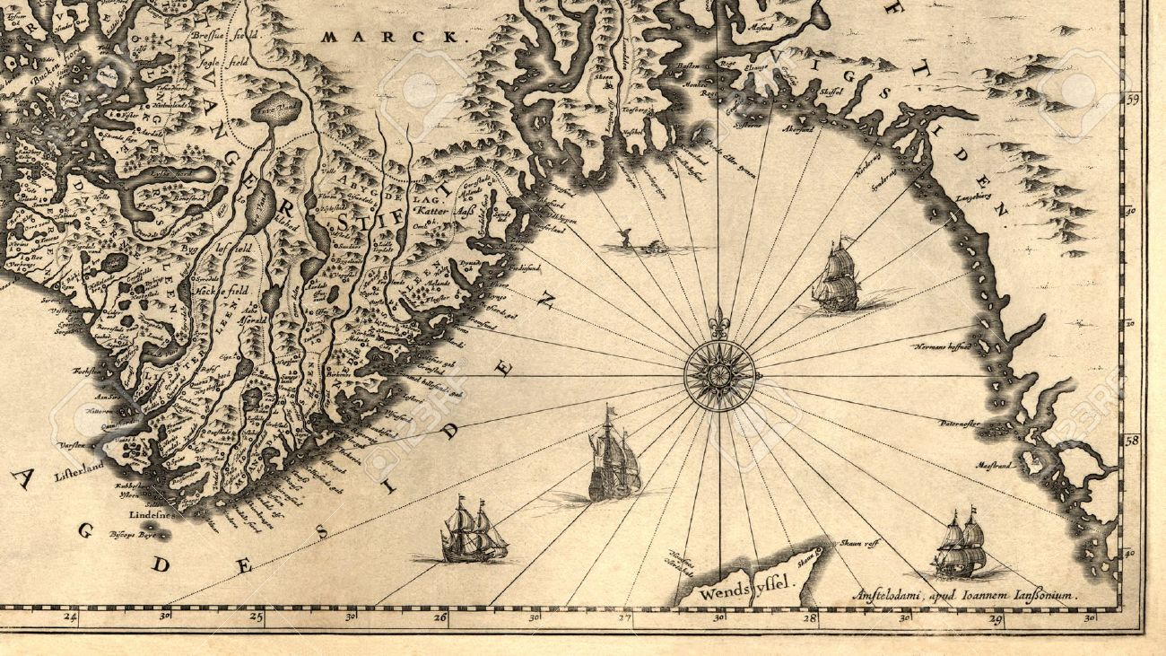 Ancient Map Of A Southern Part Of Norway Stock Photo - Norway map drawing