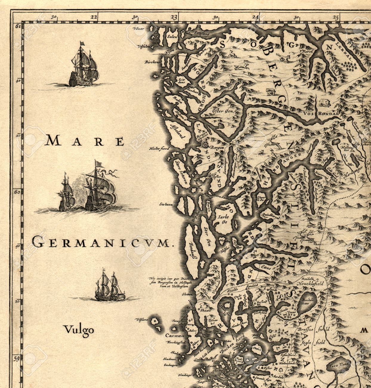 Ancient Map Of A Southern Part Of Norway Stock Photo - Norway map vikings