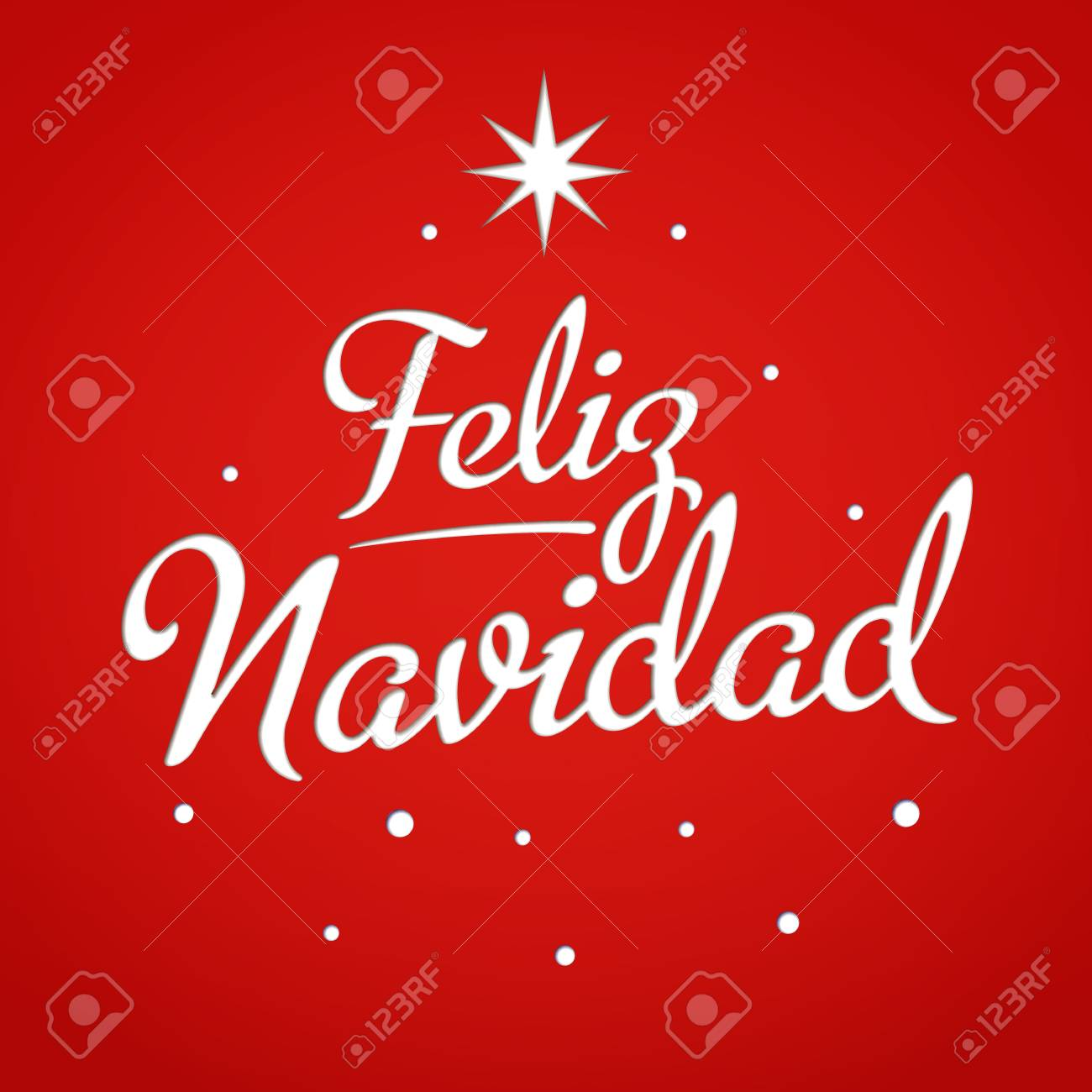 Merry Christmas Card Template With Greetings In Spanish Feliz